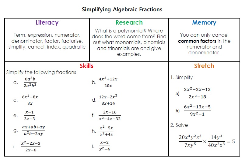 Algebra Mathematics pret homeworks – Algebraic Fractions Worksheet