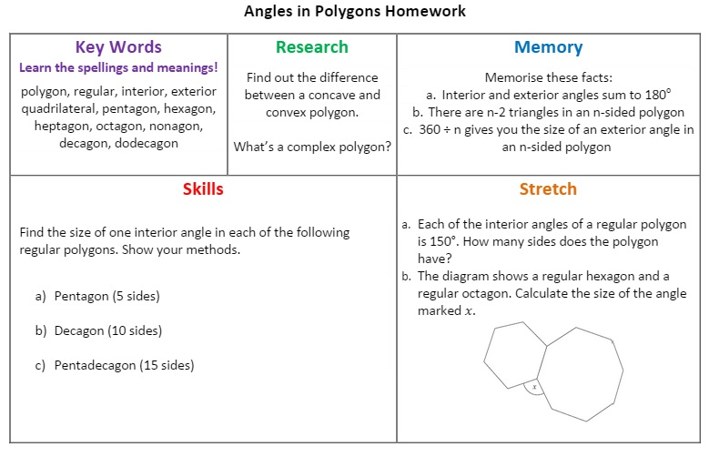 Shape Mathematics pret homeworks – Interior Angles of Polygons Worksheet
